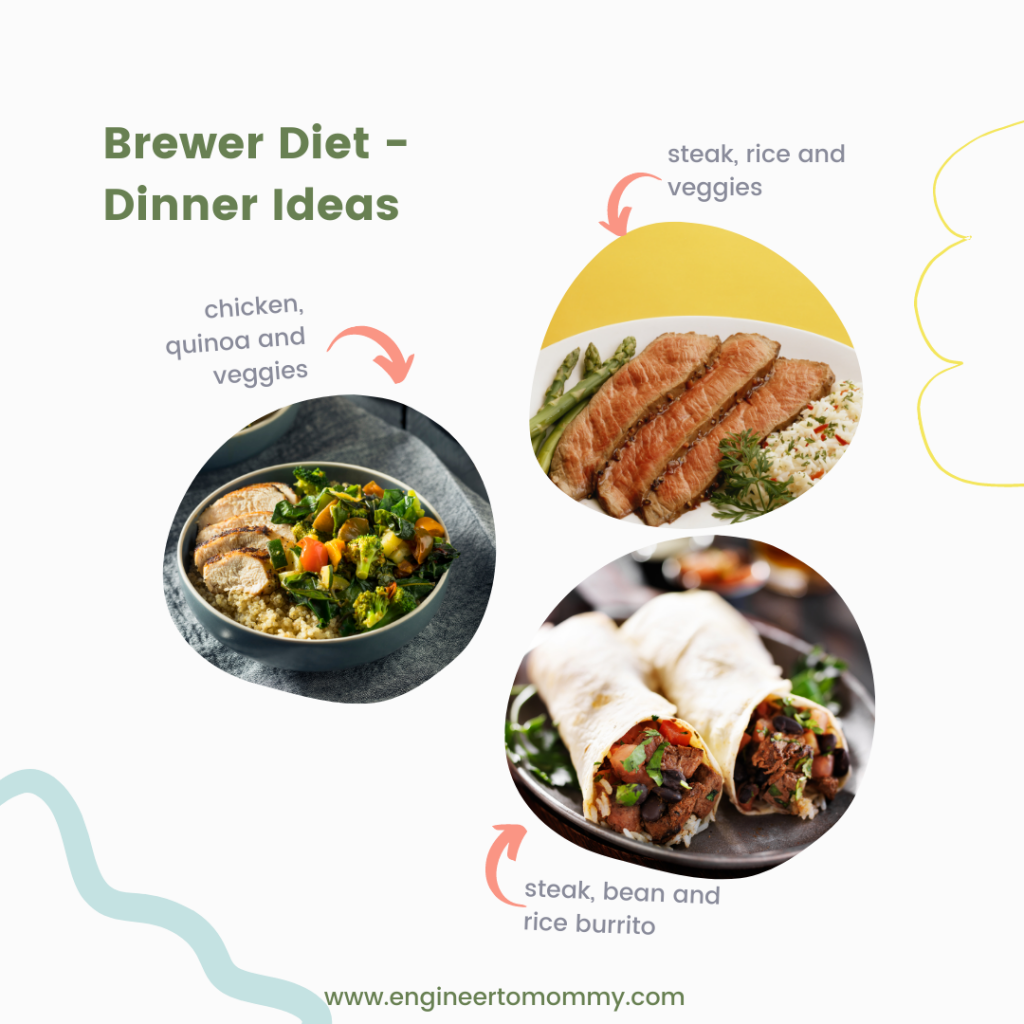 Pictures of chicken, quinoa, and veggies, steak, rice and asparagus and steak burrito as dinner ideas for the Brewer Diet