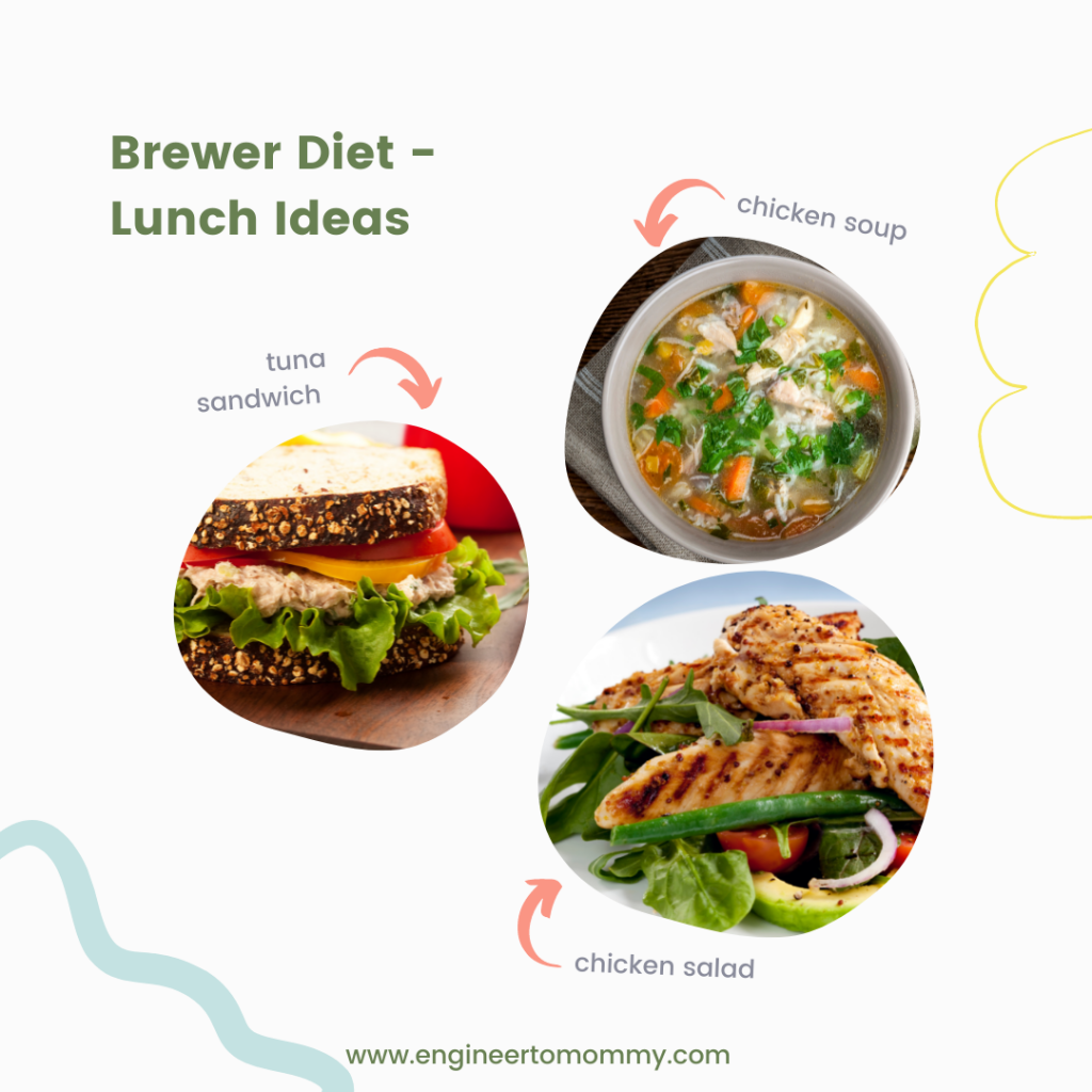 Picture of tuna sandwich, chicken soup and chicken salad as lunch ideas for the Brewer Diet