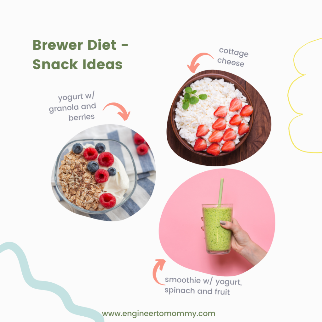 Picture of cottage cheese, yogurt and smoothie as snack ideas for Brewer Diet